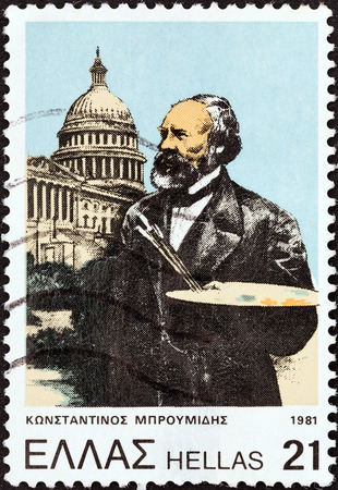 GREECE - CIRCA 1981  A stamp printed in Greece issued for his 175th birth anniversary shows artist Constantine Broumidis honored for his fresco work in the Capitol Building in Washington, circa 1981   Editorial