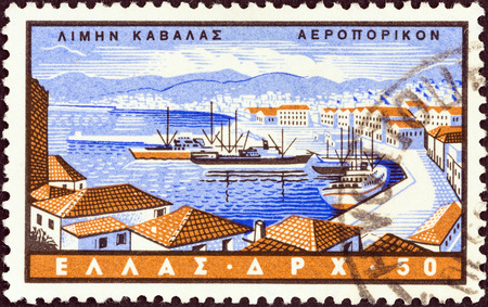 GREECE - CIRCA 1958  A stamp printed in Greece from the  Greek Ports  issue shows Kavala, circa 1958