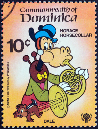 horace: DOMINICA - CIRCA 1979  A stamp printed in Dominica from the  International Year of the Child  Walt Disney Cartoon Characters   issue shows Horace Horsecollar and Dale, circa 1979