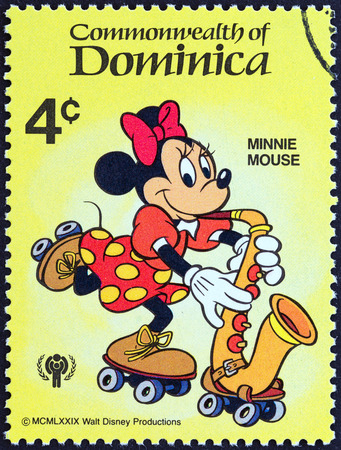 postage stamp: DOMINICA - CIRCA 1979  A stamp printed in Dominica from the  International Year of the Child  Walt Disney Cartoon Characters   issue shows Minnie Mouse, circa 1979