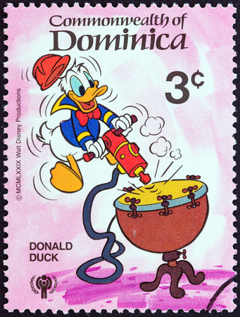 donald: DOMINICA - CIRCA 1979  A stamp printed in Dominica from the  International Year of the Child  Walt Disney Cartoon Characters   issue shows Donald Duck, circa 1979