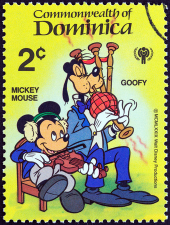 DOMINICA - CIRCA 1979  A stamp printed in Dominica from the  International Year of the Child  Walt Disney Cartoon Characters   issue shows Mickey Mouse and Goofy, circa 1979