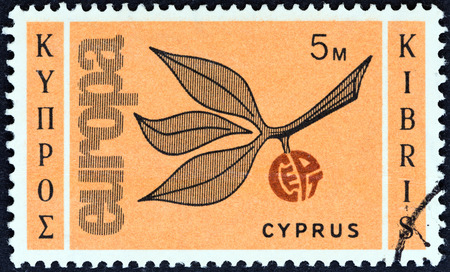 kibris: CYPRUS - CIRCA 1965  A stamp printed in Cyprus from the  Europa  issue shows Europa Sprig, circa 1965   Editorial
