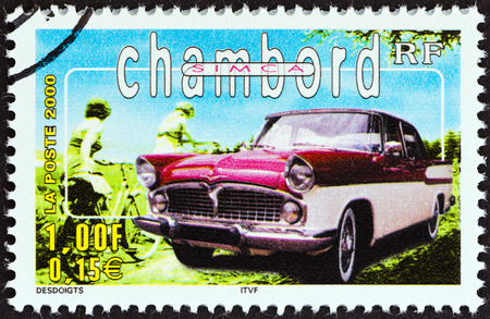 postes: FRANCE - CIRCA 2000  A stamp printed in France from the  Philexjeunes 2000   issue shows Simca Chambord, circa 2000