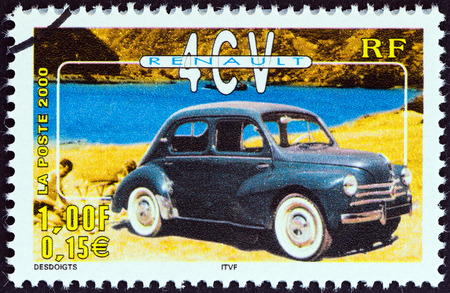 postes: FRANCE - CIRCA 2000  A stamp printed in France from the  Philexjeunes 2000   issue shows Renault 4CV, circa 2000   Editorial