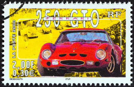 stempel: FRANCE - CIRCA 2000  A stamp printed in France from the  Philexjeunes 2000   issue shows Ferrari 250 GTO, circa 2000