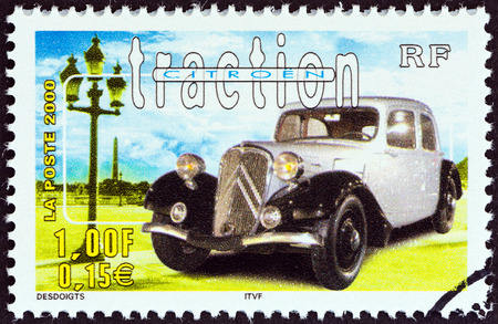 postes: FRANCE - CIRCA 2000  A stamp printed in France from the  Philexjeunes 2000   issue shows Citroen Traction, circa 2000   Editorial
