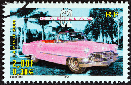FRANCE - CIRCA 2000  A stamp printed in France from the  Philexjeunes 2000   issue shows Cadillac 62, circa 2000