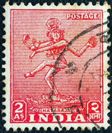 nataraja: INDIA - CIRCA 1949  A stamp printed in India shows Nataraja, circa 1949   Editorial