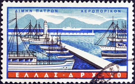 GREECE - CIRCA 1958  A stamp printed in Greece from the  Greek Ports  issue shows Patras, circa 1958