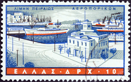timbre: GREECE - CIRCA 1958  A stamp printed in Greece from the  Greek Ports  issue shows Piraeus, circa 1958