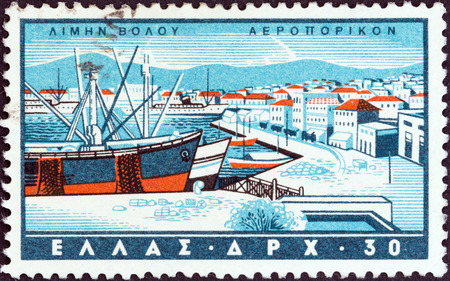 GREECE - CIRCA 1958  A stamp printed in Greece from the  Greek Ports  issue shows Volos, circa 1958