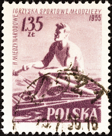 sculling: POLAND - CIRCA 1955  A stamp printed in Poland from the  2nd International Games  issue shows sculling, circa 1955