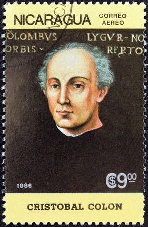 NICARAGUA - CIRCA 1986  A stamp printed in Nicaragua from the  500th anniversary  1992  of Discovery of America by Columbus  1st issue shows Christopher Columbus, circa 1986