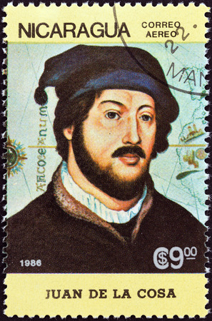 timbre: NICARAGUA - CIRCA 1986  A stamp printed in Nicaragua from the  500th anniversary  1992  of Discovery of America by Columbus  1st issue shows Juan de la Cosa, circa 1986