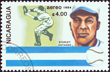 NICARAGUA - CIRCA 1984  A stamp printed in Nicaragua from the  History of Baseball  Portraits and national colors  issue shows Stanley Cayasso, Nicaragua, circa 1984   Editorial
