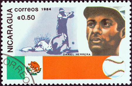 NICARAGUA - CIRCA 1984  A stamp printed in Nicaragua from the  History of Baseball  Portraits and national colors  issue shows Daniel Herrera, Mexico, circa 1984