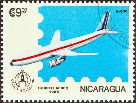 NICARAGUA - CIRCA 1986  A stamp printed in Nicaragua from the  Stockholmia 86, International Stamp Exhibition  issue shows Airbus A300, circa 1986