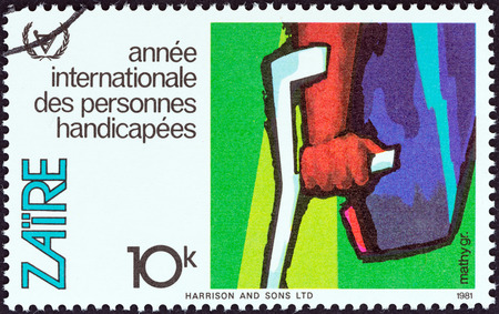stempel: ZAIRE - CIRCA 1981  A stamp printed in Zaire from the  International Year of Disabled People   issue shows Arm and crutch, circa 1981