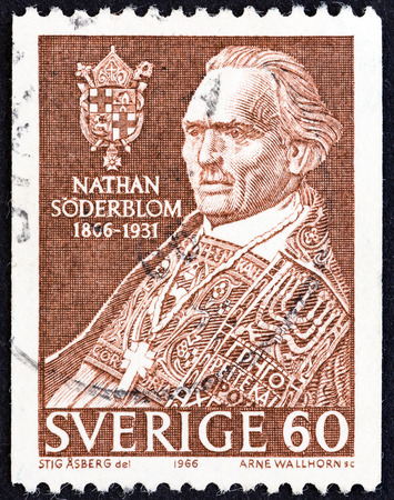 archbishop: SWEDEN - CIRCA 1966  A stamp printed in Sweden issued for the Birth Centenary of Nathan Soderblom, Archbishop of Uppsala shows Nathan Soderblom, circa 1966