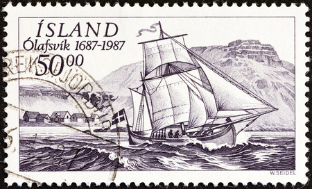 timbre: ICELAND - CIRCA 1987  A stamp printed in Iceland issued for the 300th anniversary of Olafsvik Trading Station shows ship Svanur  ketch , circa 1987   Editorial