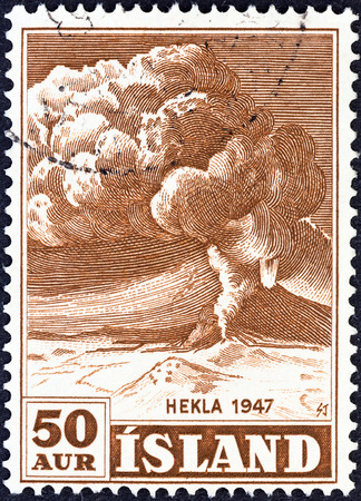 hekla: ICELAND - CIRCA 1948  A stamp printed in Iceland shows Mt  Hekla in Eruption, circa 1948