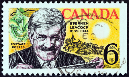 postes: CANADA - CIRCA 1969  A stamp printed in Canada issued for the birth centenary of humorist Stephen Butler Leacock shows Stephen Butler Leacock, Mask and Mariposa, circa 1969  Editorial