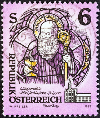 abbeys: AUSTRIA - CIRCA 1993  A stamp printed in Austria from the  Monasteries and Abbeys   issue shows St  Benedict of Nursia  glass painting , Mariastern Abbey, Gwiggen, circa 1993