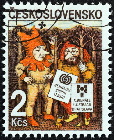 czechoslovakia: CZECHOSLOVAKIA - CIRCA 1985  A stamp printed in Czechoslovakia issued for the 10th Biennial Exhibition of Book Illustrations for Children, Bratislava shows Elves by Gennady Spirin, circa 1985