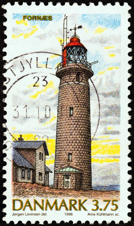 timbre: DENMARK - CIRCA 1996  A stamp printed in Denmark from the  Lighthouses   issue shows Fornaes, circa 1996