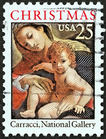 アメリカ合衆国 - 年頃 1989 A 切手がクリスマス問題から米国で印刷されたアレキサンドリアの詳細、ルドヴィコ ・ カラッチ、ナショナル ギャラリー
