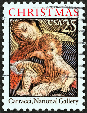 USA - CIRCA 1989  A stamp printed in USA from the  Christmas   issue shows Dream of St  Catherine of Alexandria  detail, Ludovico Carracci , National Gallery, circa 1989
