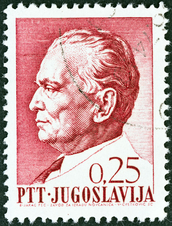 the statesman: YUGOSLAVIA - CIRCA 1967  A stamp printed in Yugoslavia issued for Tito s 75th birthday shows President Tito, circa 1967