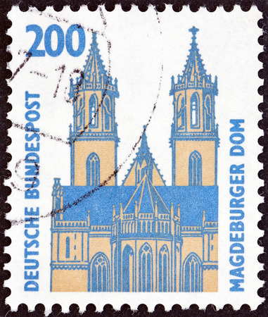 bundespost: GERMANY - CIRCA 1987  A stamp printed in Germany from the  Tourist Sights  issue shows Magdeburg Cathedral, circa 1987