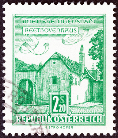 stempeln: AUSTRIA - CIRCA 1962  A stamp printed in Austria from the  Architectural Monuments in Austria   issue shows Beethoven s House, Heiligenstadt, Vienna, circa 1962