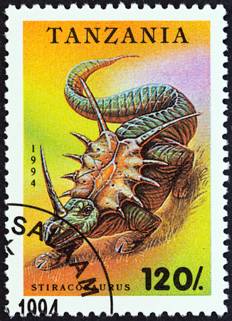 timbre: TANZANIA - CIRCA 1994  A stamp printed in Tanzania from the  Prehistoric Animals   issue shows Stiracosaurus, circa 1994