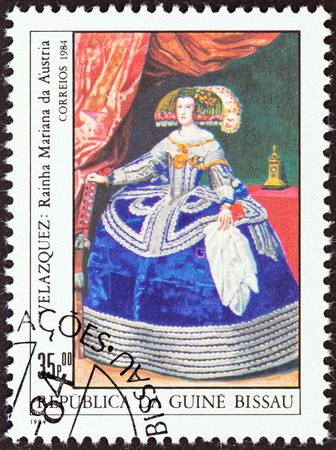 velazquez: GUINEA-BISSAU - CIRCA 1984  A stamp printed in Guinea-Bissau from the  Espana 84 International Stamp Exhibition, Madrid   issue shows Queen Maria of Austria  Velazquez , circa 1984