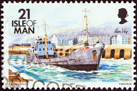veg: ISLE OF MAN - CIRCA 1993  A stamp printed in United Kingdom from the  Ships  issue shows Ben Veg  freighter , circa 1993  Editorial