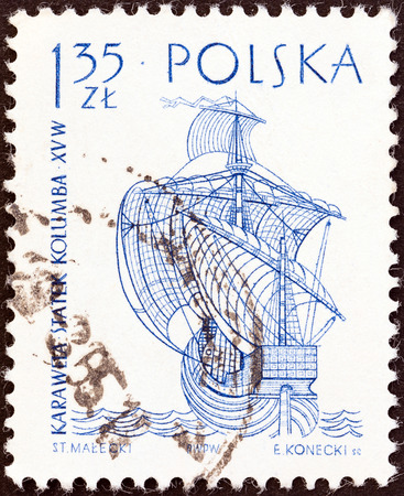 POLAND - CIRCA 1964  A stamp printed in Poland from the  Sailing Ships  2nd series   issue shows Columbus Santa Maria, circa 1964