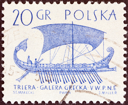 POLAND - CIRCA 1964  A stamp printed in Poland from the  Sailing Ships  2nd series   issue shows Greek trireme  5th cent B C  , circa 1964