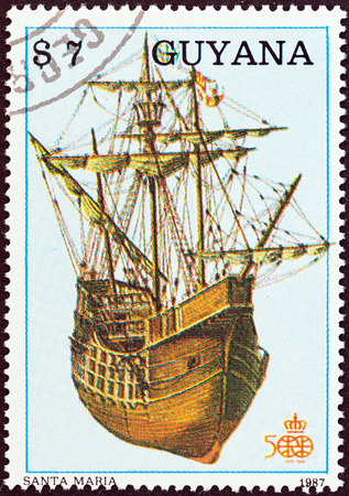 GUYANA - CIRCA 1988  A stamp printed in Guyana from the  The 500th anniversary of the Discovery of America, 1992   issue shows Santa Maria, circa 1988