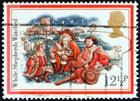 UNITED KINGDOM - CIRCA 1982  A stamp printed in United Kingdom from the  Christmas  Carols   issue shows While Shepherds Watched, circa 1982