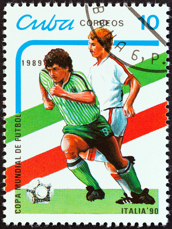 CUBA - CIRCA 1989  A stamp printed in Cuba from the  World Cup Football Championship, Italy 1990   issue shows footballers, circa 1989