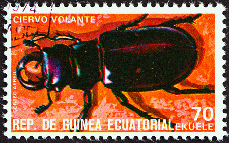 stempel: EQUATORIAL GUINEA - CIRCA 1978  A stamp printed in Equatorial Guinea from the  Insects   issue shows Lucanus cervus, circa 1978   Editorial
