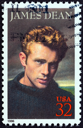 dean: USA - CIRCA 1996  A stamp printed in USA from the  Legends of Hollywood   issue shows James Dean, circa 1996