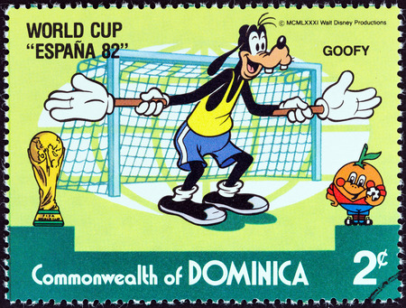 DOMINICA - CIRCA 1982  A stamp printed in Dominica from the  World Cup Football Championship, Spain  Walt Disney Cartoon Characters   issue shows Goofy as goalkeeper, circa 1982