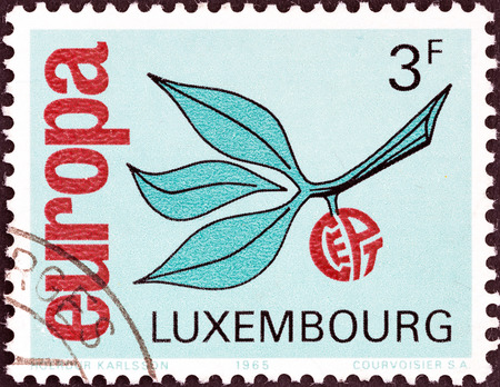 LUXEMBOURG - CIRCA 1965  A stamp printed in Luxembourg from the  Europa  issue shows Europa Sprig, circa 1965