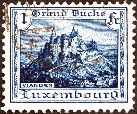 LUXEMBOURG - CIRCA 1921  A stamp printed in Luxembourg shows Vianden Castle, circa 1921
