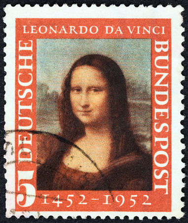GERMANY - CIRCA 1952  A stamp printed in Germany issued for the 500th birth anniversary of Leonardo da Vinci shows Mona Lisa, circa 1952  Редакционное