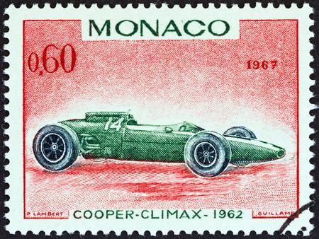 postes: MONACO - CIRCA 1967  A stamp printed in Monaco from the  25th Grand Prix, Monaco  issue shows Cooper-Climax Grand Prix racing car of 1962, winner of Monaco Grand Prix, circa 1967   Editorial